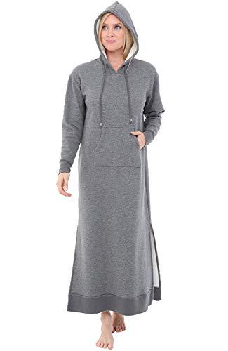 Alexander Del Rossa Women's Warm Fleece Nightgown, Long Pullover Kaftan with Hood, XL Steel Grey with Hood (A0266STLXL)