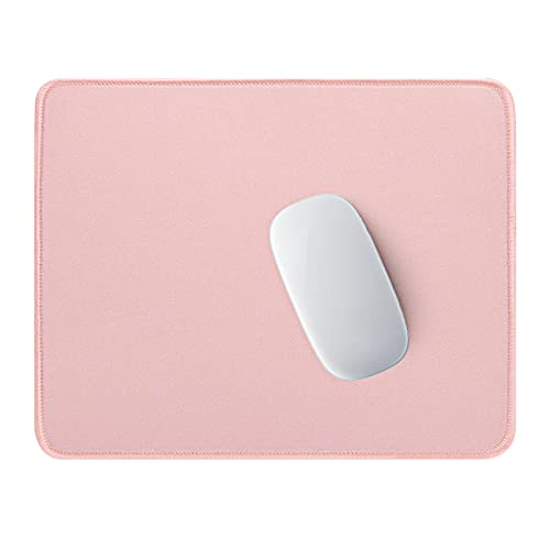 Hsurbtra Mouse Pad, Premium-Textured Square Mousepad 10.2 x 8.7 Inch, Stitched Edge Anti-Slip Waterproof Rubber Mouse Mat, Pretty Cute Mouse Pad for Office Gaming Laptop Women Kids Pink