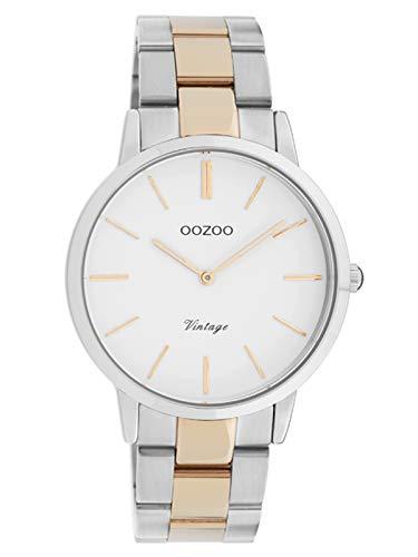 Oozoo Vintage Damenuhr mit Edelstahl Gliederarmband 38 MM Weiß/Rose/Silberfarben C20033