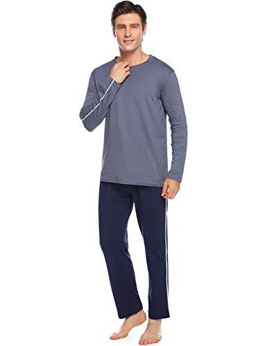 Abollria Herren Schlafanzug Lang Pyjama Set 100% Baumwolle Zweiteiliger Langarm Shirt...