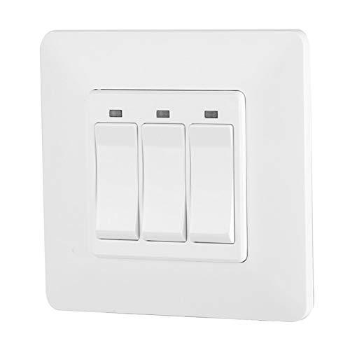 Interruptor de pared con control remoto para teléfono WiFi de 100-240 V, interruptor inteligente de material ignífugo para PC, para Alexa/Google Home/IFTTT EU Plug(3 keys)