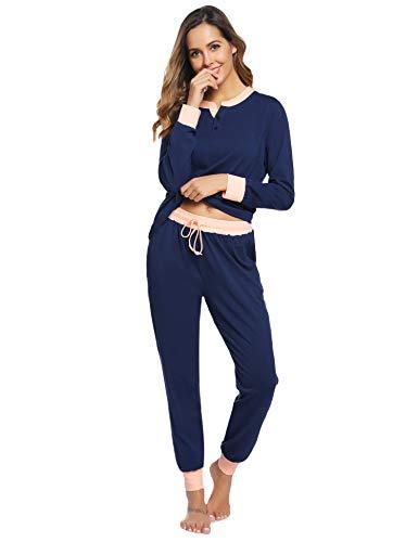 Hawiton Schlafanzug Damen Langarm Pyjama Baumwolle Weinachten Winter Nachtwäsche Sleepwear Set (Dunkleblau-455, S)