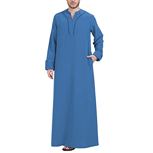 YHQKJ Vestido Casual árabe de los Hombres, Vestido Tradicional en V Cuello en v Manga Larga Vestido Ultra Largo para Casual (Color : G, Size : 4XL)