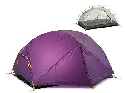 Mdsfe Naturehike Mongar 2 Carpa, Carpa de Camping para 2 Personas Carpas de Camping ultraligeras para Exterior 2 Hombres con vestíbulo - 20D púrpura