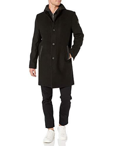 Kenneth Cole New York - chamarra de lana para hombre con capucha desmontable, negro (Deep Black), XX-Large