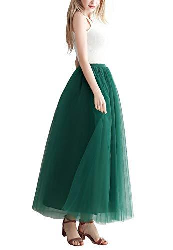 Aysimple Mujer Falda de Tul Larga de Tul Plisada Tutu Malla de Noche Fiesta Cintura Alta Verde Oscuro