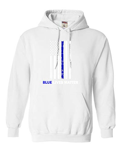 X-Large White Adult Blue Lives Matter Thin Blue Line Support Police Sweatshirt Hoodie