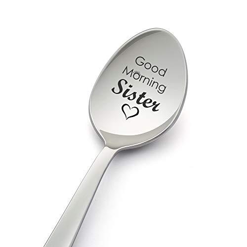 """Cuchara para grabar con texto en inglés """"Good Morning Sister Spoon"""" para hermana, hermana, cuñada, regalo de cumpleaños, hermana en la ley, hermana, regalo de boda, regalo de hermana"""
