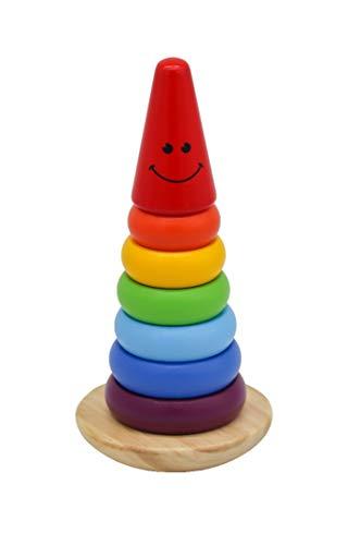 Ringpyramide Sortier Stapel Spiele Spielzeug Holz 1 Jahr, Regenbogenstapler ausglückliches Holz Steckspielzeug Montessori , Farbenfroh scheibenturm Balance blöcke Lernspielzeug Für Montessori-Kinder