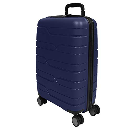 PERLETTI Valigia Trolley Extra Resistente in Polipropilene - Bagaglio a Mano Rigido da Viaggio Blu Ryanair e EasyJet 55x40x20 cm - Chiusura TSA Incassata e 4 Ruote Doppie - Perletti Travel (Blu, S)
