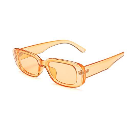 DIOXQEN Classic Design Vintage Black Square Sunglasses Women Luxury Brand Small Rectangle Sun Glasses Female Gradient Clear Mirror For outdoor use (Lenses Color : Orange)