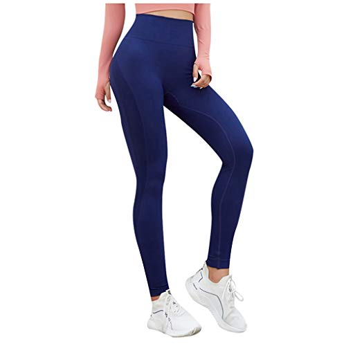 Linkay Damen Yoga Hosen Schnell Trocknend Elastic Fitness Laufen Sporthose Fitnesshose Eng Hip Raise Hohe Taille Slim Fit Elastizität Jogginghose Sport Leggings (Marine,Medium)