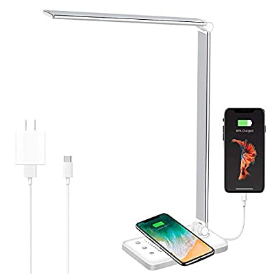 LED Desk Lamp with Wireless Charger,Sinfox Eye-Caring Office Table Lamp with Wireless Charger,USB Charging Port,5 Lighting Modes & 5 Brightness Levels, 52pcs LEDs,Auto Timer,Touch Control White