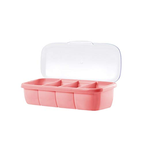 Adaap Juego de salero y pimentero de plástico para camping, especias, fácil de limpiar, duradero, color rosa (25,5 x 8,5 x 7 cm)
