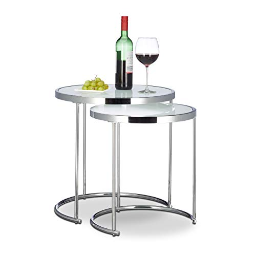 Relaxdays Satztische rund, Chromgestell, 2er Set, modernes Design - Milchglas, Couchtisch Metall, Beistelltische, silber
