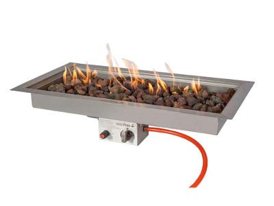 Easyfires inbouwbrander gas rechthoekig 78 x 38 cm voor vuurtafel, haard, gasvuurplaats, roestvrij staal, gebruik tafelhaard