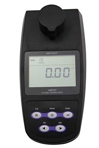 AMTAST Portable Turbidimeter Turbidity Meter Kit Turbidity Tester with 2 PCS Glass Sample Vials Range:0~1100 NTU/FNU, 0~275 EBC, 0~9999 ASBC