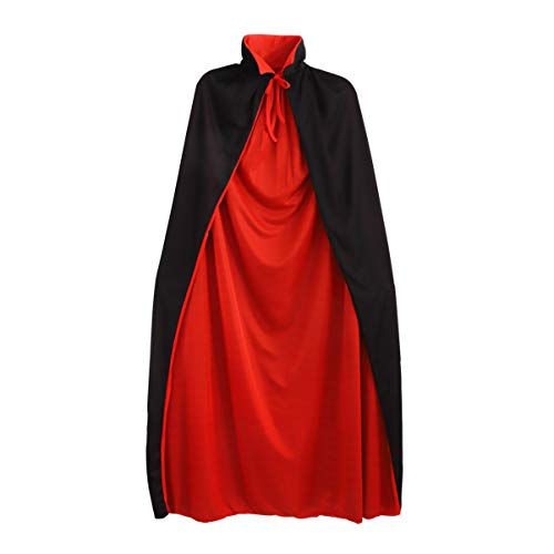 GARNECK 1.4 Metros / 55 Pulgadas Disfraz de Vampiro de Halloween Capa de Cosplay Capa Prop Suministros de Disfraces para Adultos de Doble Capa - Rojo + Negro