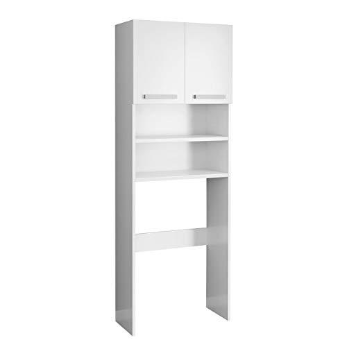 Mirjan24 Waschmaschinenschrank Pola, Badezimmerschrank für die Waschmaschine, Badhochschrank, Badschrank, Badregal (Weiß)