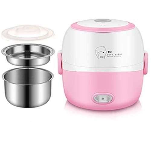 WJH9 Multi-Funktions-Lunch Box, Steckbare Heizung Isolierung Kochen Hot Reiskocher Mini Kleine Reiskocher, Hygiene- und Kosmetik Geschirr,Rosa