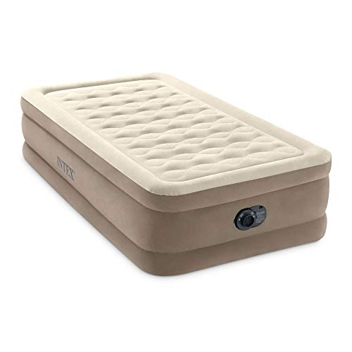 Intex 64425ED Ultra Plush Fiber Tech Soft Airbed Mattress with Built in Electric Pump and Portable Storage Carrying Case, Twin