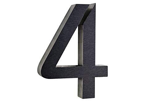 4 Hausnummer 3D Edelstahl V2A diamant- anthrazit ITC Bauhaus Design rostfrei witterungsbeständig...