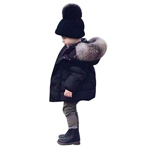 Longra Baby Kinder Mädchen Junge Daunenmantel Daunenjacken mit Fellkapuze Kinder Winterjacke Kapuzenmantel Kapuzenjacke Trenchcoat Warm Kinder Wintermäntel Kleidung (0-5Jahre) (100CM 3Jahre, Black)