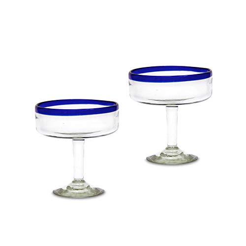 Margarita - Juego de 2 vasos de cóctel azules hechos a mano con borde azul