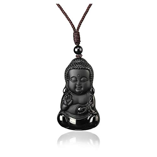 CrystalTears Hand Carved Baby Buddha Amulet Pendant Necklace Natural Black Obsidian Healing Quartz Crystal Stone Necklace for Women Men Valentines Day Gift