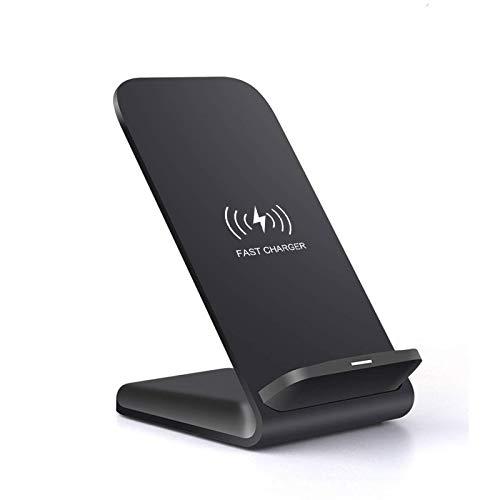 Soporte de cargador inalámbrico Qi de 15 W Soporte de cargador inalámbrico Qi de 15 W, adecuado para iPhone 12 11 Pro XS MAX XR X 8 Cargador de teléfono con base de carga rápida Samsung S21 S20 S10 S9