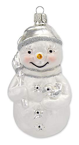 Thüringer Glasdesign Schneemann 10cm - Weiß Silber - A061-0731-091 - Glasschmuck Weihnachtsbaum Christbaumschmuck Anhänger Behang