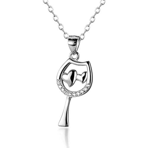 GYUFU Collar de Regalo para Mujer S925 Collar de Copa de Vino en Forma de Corazón de Plata Esterlina, Corazón Rojo Engastado con Diamantesoro, Plata 925