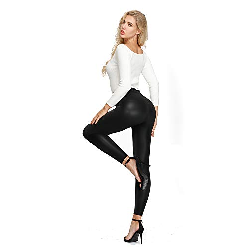 MCEDAR Faux Leather Legging for Women Black Leather Pants High Waist Sexy Skinny Outfit for Causal, Club, Night Out (XXXXL, Black Without Pocket)