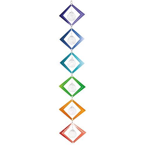 CIM Metall Windspiel - Crystal Rainbow Chain - 6 Objekte mit Glitzerpigmenten und Facettschliff-Kugeln inklusiv Aufhängung – attraktive Raum- und Garten-Dekoration (Square)