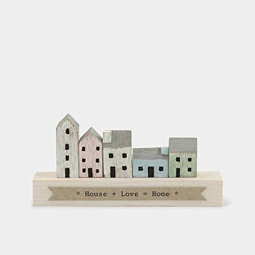 East of India Wonderland Wooden Figures Ornaments Plaques Home Dreams Possibilities Love Gift Keepsake (House + Love = Home (4464))