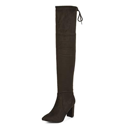 DREAM PAIRS Women's Coffee Thigh High Chunky Heel Stretch Over The Knee Boots Size 5 B(M) US Natasha-1