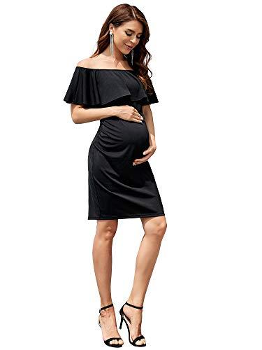 Ever-Pretty Vestidos de Cóctel Corto para Mujer Embarazada Fuera del Hombro Volantes Ajustado Faldas Fotográficas de Maternidad Negro 38