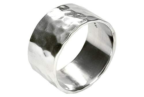 SILBERMOOS XL XXL ringar i stora storlekar dam herr ring bandring glänsande fållad handgjord sterlingsilver 925 storlekar 64, 66, 68, 70, 72 e silver, 66 (21.0), cod. SM578