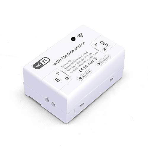 BSEED WIFI Lichtschalter Drahtloser Fernbedienung Smart Lichtschalter DIY-Modul 10A Intelligenter kabelloser WLAN Lichtschalter Kompatibel mit Alexa und Google Home-Kein Hub erforderlich Weiß