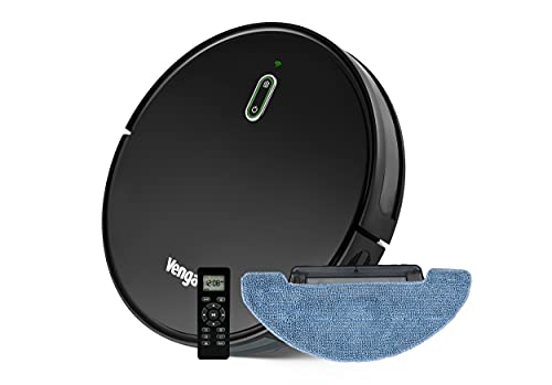 Venga! Robot Aspirapolvere Lavapavimenti, Navigazione Giroscopio, App compatibile con Alexa/Google Assistant, Nero, VG RVC 3001 BK
