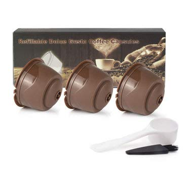 DyNamic 3 Stks/Set 50-100 Ml Plastic Hervulbare Koffie Capsule Cup Herbruikbare Koffiepads W / 8 Ml Koffielepel Borstel Voor Dolce Gusto Brouwer - Bruin