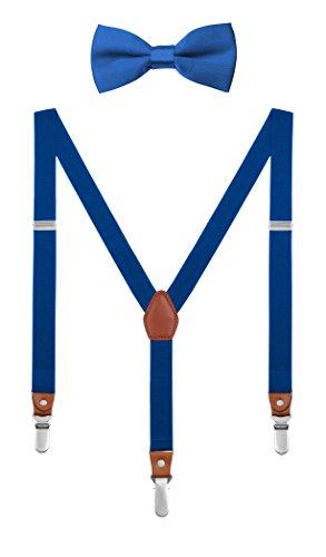 DEBAIJIA Boutique en Caja Conjunto Tirantes y Pajarita Para 1-8 Años Niños Niñas 3 Clips 2,5 cm Ancho Y Forma Moda Metal Elástica Ajustable Azul rey