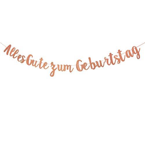 Guirnalda de cumpleaños con texto 'Happy Birthday', color oro rosa, para colgar, decoración de cumpleaños
