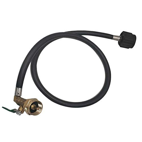 METER STAR Propane Refill Adapter for 1 Lb Tanks with ON-Off Control Valve and Hose 35.5 inch Long,350PSI High Pressure Camping Grill QCC1 Type Propane Refill Kit