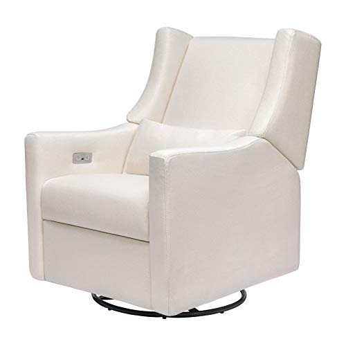 Babyletto Kiwi Electronic Power Recliner and Swivel Glider with USB Port in Performance Cream Eco-Weave, Water Repellent & Stain Resistent, Greenguard Gold and CertiPUR-US Certified
