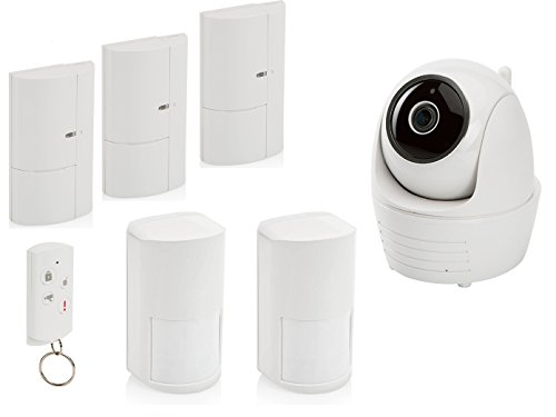Alarmsysteem: IP-binnencamera, bewegingsmelder, magneetcontacten en afstandsbediening.