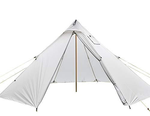 Ultralight 20D Silicon-Coated Nylon 4-6 Person Tipi Hot Tent with Fire Retardant Stove Jack for Flue Pipes with 1 Doors