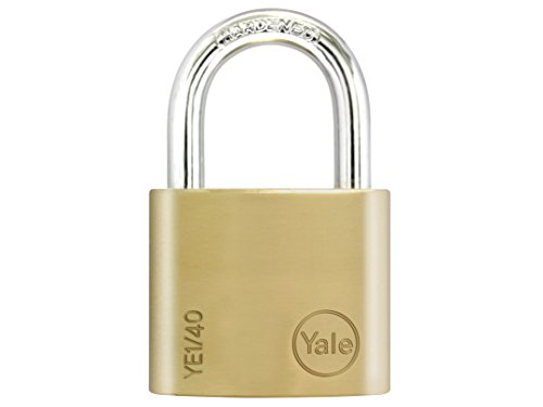 Yale YE1/40/122/1 Brass Padlock, 40mm, pack of 1, suitable for sheds and gates