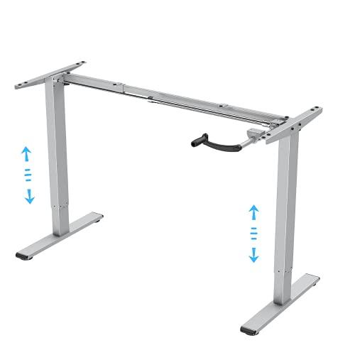 E.For.U® Q3 marco de mesa ajustable con manivela de escritorio ajustable en altura (manual, plateado)