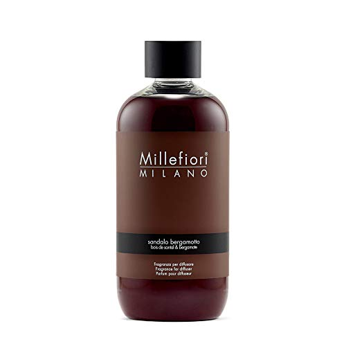 Millefiori Milano ricarica per diffusore di fragranza per ambienti   Sandalo Bergamotto   250 ml di fragranza